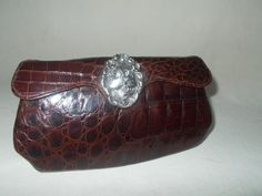 Rare Art nouveau French crocodile clutch bag with silver lady front by VintageHandbagDreams on Etsy