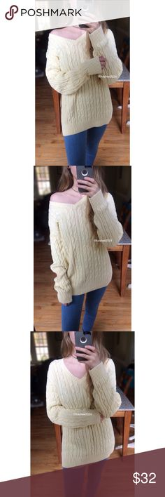 🍂 Winter Cozy Pastel Yellow Cable Knit Sweater 🍂 Ultra soft + cozy. Features a beautifully crafted cable knit in the prettiest shade of pastel buttercup yellow. Super flattering v-cut neckline makes this perfect for wearing on or off shoulder! In excellent condition. Will best fit sizes xs to medium depending on your desired fit! Modeled on a size xs/small, 5'2 height :) Sweaters V-Necks
