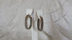 """Vintage Sterling Silver Marcasite In and Out Hoop Earrings 8.6 grams 1.25""""  #Hoop"""