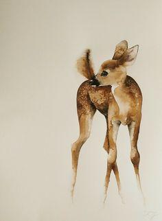 k. jokel #art #illustration #watercolor #deer #fawn