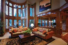 This is the family room. I don't like the decor, but the layout is wonderful