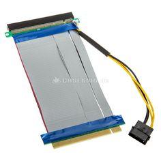 PCI Express 16x auf 16x Riser-Kabel inkl. Molex-Stromkabel - 19cm
