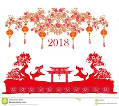 Happy Chinese New Year 2018 Card Stock Vector - Image