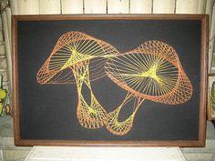 Vintage 70s mushroom string art picture / wall decor hanging / retro 1970s folk art craft / groovy hippie / handmade