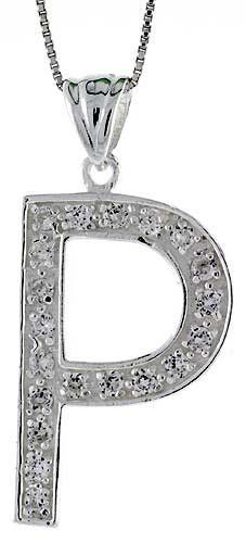 Sterling Silver Cubic Zirconia Block Initial Letter P Alphabet Pendant, 1 5/8 inch Sabrina Silver. $42.95