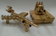 WOW. Brand New Model BULLET TANK or Model BULLET PLANE made from Bullet Casings