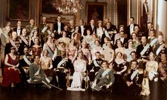 1935: More tiaras than you can shake a stick at!  Gathering of royals for the wedding of Ingrid of Sweden to Frederick of Denmark.