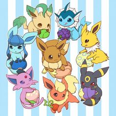 all evolutions of eevee with there food