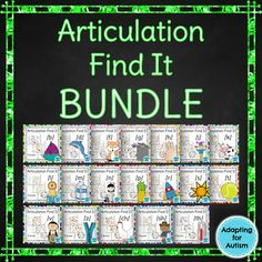 This bundle includes 19 no prep speech therapy games for a unique way to practice articulation goals for the sounds /b/, /ch/, /d/, /f/, /g/, /h/, /j/, /k/, /l/, /m/, /n/, /p/, /r/, /s/, /sh/, /t/, /th/, /v/ and /z/. Students have fun searching for the pictures while practicing each sound in the initial, medial and final positions.