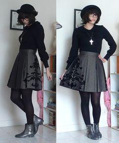Cop Copine Mikado Skirt, Vivienne Westwood Glitter Boots, Innocent World Peter Pan Colar Cutsew, H&M Bowl Custom Hat