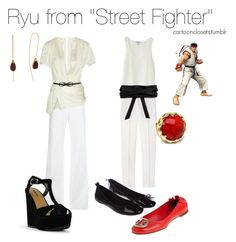 """""""Ryu from Street Fighter"""" by bforbel ❤ liked on Polyvore featuring Nieves Lavi, Emporio Armani, STELLA McCARTNEY, Giorgio Armani, Ryu, Miss KG, Elegantly Waisted, Tory Burch, Jacqueline Clarke and Fantasy Jewelry Box"""