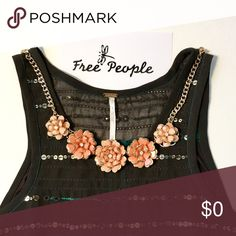 Free People Thin Jersey Tunic Tank W/Light Beading ... coming soon. Necklace not included.❤️ Free People Tops Tunics