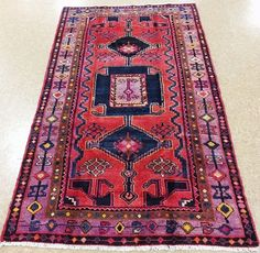 4 x 7 PERSIAN LURI NOMADIC TRIBAL Hand Knotted Wool RED LAVENDER Oriental Rug #PersianLuriTribalNomadicGeometric