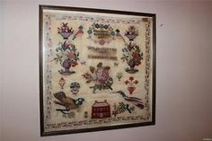 Early Victorian Framed & Glazed Hand Stitched Sampler Eliza Sheard Aged 12 1848