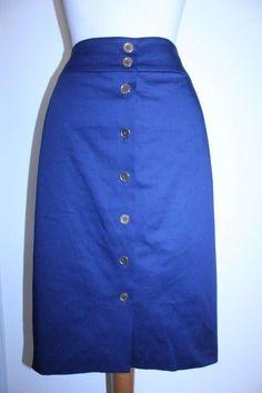 Old Navy Skirt M Blue Navy Red Striped Elastic Waist Knee Length ...