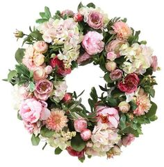 HEBE 22 Inch Large Pink Rose Flower Wreath Artificial Floral Door Wreath Welcome Wreath for Front Door Indoor Outdoor Wedding Window Wall Home Holiday Decor All Year Around Wreaths For Front Door, Door Wreaths, Tea Roses, Flowers Garden, Faux Flowers, Summer Wreath, Diy Wreath, How To Make Wreaths, Making Ideas