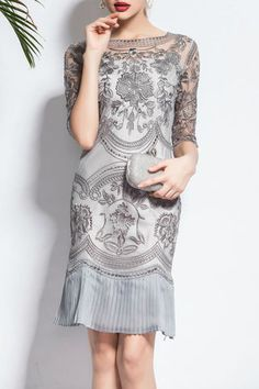 $69.99 Light Grey Embroidered Pleated Hem Dressproducts_id:(1000012566 or 1000012953 or 1000012392 or 1000012347)