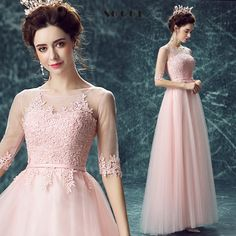 Elegant Lace Pink Evening Dress  Floor-length Half sleevesPeacock Dress,Do you want itVisit our store