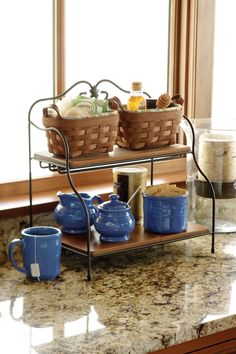 Keep your tea and coffee organized with Longaberger baskets, pottery and wrought iron pieces