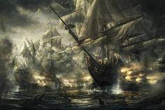 battle ships, digital art by rado javor