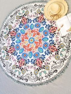 Multicolor Floral Print Fringe Trim Round Beach Blanket