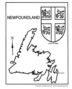 Canada Day - Newfoundland - Map / Coat of Arms Coloring Pages Canadian Provincial Flags, Newfoundland Map, Fun Facts About Canada, Map Quilt, Quilt Blocks, Map Painting, Stone Painting, Flag Coloring Pages, Printable Coloring Sheets