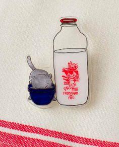 Cat and Milk Brooch by Kathy Sheldon in Shrink! Shrank! Shrunk!