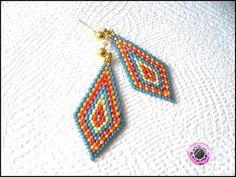 boucles d'oreilles pendantes tissées en perles de rocailles miyuki