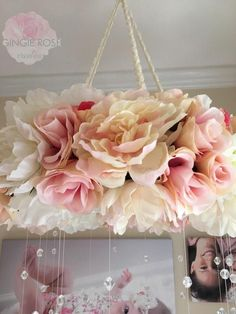 47 awesome balloon decorations baby shower ideas for girls 43 Baby Mädchen Mobile, Pink Mobile, Hanging Flowers, Diy Flowers, Paper Flowers, Baby Shower Balloon Decorations, Wedding Decorations, Ideas Habitaciones, Vintage Rosen