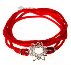 Unisex Israeli Handmade Woven Strings Kabbalah Bracelet with 3 Silver Stars of David - 4 Colors Available - Customizable & Made per Order