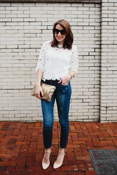 dress up jeans with a little lace + sequins and some gorgeous suede ankle-strap heels. i love all the different textures!