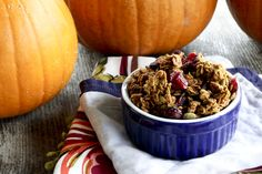 Pretty Excellent But Not Better Than Sex Pumpkin Spice Granola with dried cranberries from www.foodiewithfamily.com for #MakeAheadMondays