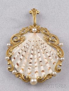 America's Gilded Age era - 18kt Gold, Shell, and Pearl Pendant, Tiffany & Co. NYC, c.1880. ~ {cwl} ~ (Skinner Auction)