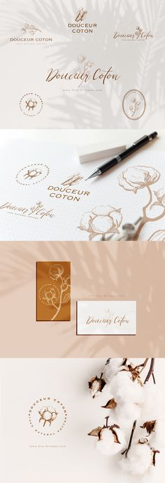 Brand Identity -  Douceur Coton - Ready for your business. Hand drawn elements & calligraphy. Buy here: www.One-Giraphe.com #brandidentity #logo #logodesign #logodesigner #graphic #graphicdesign #graphicdesigner #behance #etsy #designer #handdrawn #sketches #cotton #sweet #cute #minimal #minimalist #businesscard Logo Branding, Brand Identity, Branding Design, Logo Design, Graphic Design, Cotton Logo, Art Director, Creative Photography, Creative Art