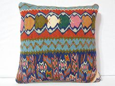 Vintage Decorative Carpet Pillow Cover Handwoven Wool by DECOLIC, $55.00
