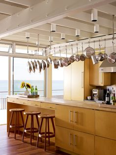 I like the pots and pans hanging from the ceiling