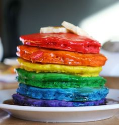 Rainbow Pancakes...regular pancakes with food coloring added. My grandkids are going to LOVE this!