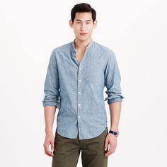 Wallace & Barnes band-collar Japanese selvedge chambray shirt : band collar | J.Crew