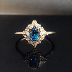 Antique Yellow Gold Ring, Oval London Blue Topaz Gemstone Ring, Filigree Ring, Alternative Engagement Ring