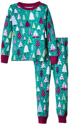 Little Blue House by Hatley Big Girls Kids Pajama Set-Patterned Trees, Green, 8