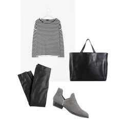 Polyvore // J.Crew leggings, Senso ankle booties and Yves Saint Laurent tote bags // stripes and ankle boots outfit