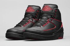 "The Air Jordan 2 Retro 'Alternate' incorporates the team colors of the Chicago-based team MJ played for during his early NBA years. Black premium leather uppers are highlighted with Gym Red piping and accents for a subtle color pop. The shoes won't be ""subtle"" when you put them on however. This drops tomorrow. VERY LIMITED stocks. Tag your friends and tell them this drops tomorrow in-store."