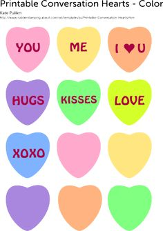 Free Printable: Color and Black and White Set of Conversation Hearts: Free Printable Conversation Hearts - Color