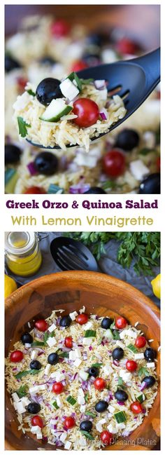 This Simple Greek Orzo and Quinoa Salad with Lemon Vinaigrette is the perfect, healthy side dish for dinners, parties or potlucks! Filled with the delicious Mediterranean flavors of jumbo California Black Olives, salty feta cheese and juicy cherry tomatoes, this salad is great any day of the week. #CalOlivesMedRecipe