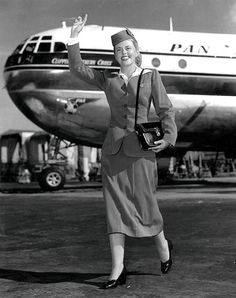 A great look at what Pan Am stewardesses were sporting back in 1953. vintage airline airplane stewardess hostess flight attendant 1950s. I will not EVER complain about my uniform! Angel