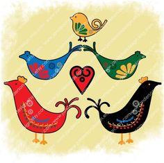Scandinavian Folk Designs | Scandinavian Folk Art Bird Designs for Clip Art, Paper Crafts and ...