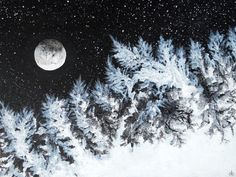 "Snowy Forest Under Moonlight - Original Abstract Acrylic Painting - 18"" x 24"" on stretched canvas - Ready to hang"