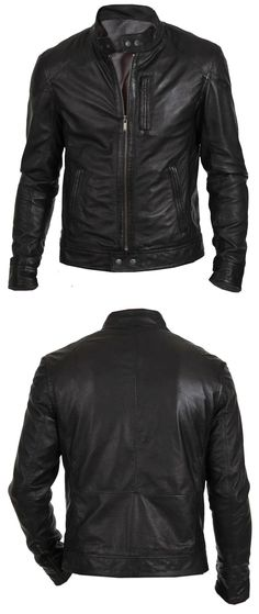 Men Coats And Jackets: Mens Leather Jacket Black Slim Fit Biker Motorcycle Genuine Lambskin Jacket BUY IT NOW ONLY: $99.99 Fashion leather articles at 60 % wholesale discount prices #leather #leatherjacket #leatherfashion