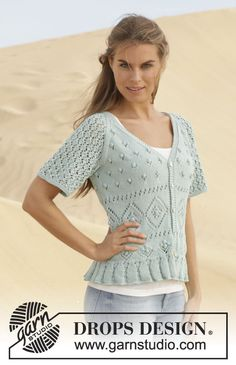 "Gebreid DROPS vest met kantpatroon en raglan van ""Cotton Light"". Maat: S - XXXL. ~ DROPS Design"