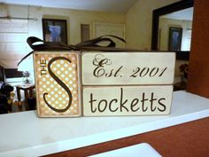 Could change into a child's keepsake to include 1st name and birth info.  Name block, anniversary, wedding gift